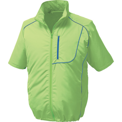 空調服 ポリエステル製半袖空調服 ワンタッチファングレー 大容量バッテリーセット ライムグリーン 5L 1720-G22-C17-S7