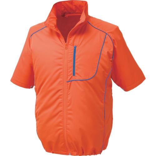 空調服 ポリエステル製半袖空調服 ワンタッチファングレー 大容量バッテリーセット オレンジ M 1720-G22-C30-S2