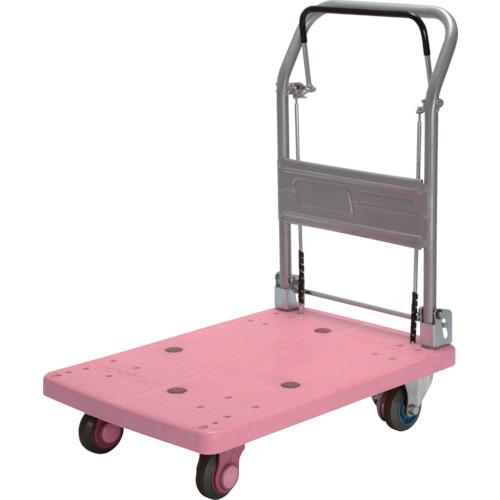 カナツー 静音プラ 150kg ドラムブレーキ付 折畳式 ピンク PLA150-DX-DB-P