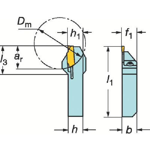サンドビック QSホールディングシステム コロカット1・2用突切り・溝入れバイト QS-LF123E17-1616B
