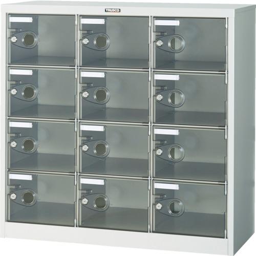 【直送】【代引不可】TRUSCO(トラスコ) シューズケース 12人用 900X380XH880 透明 鍵付 SC-12PC-L