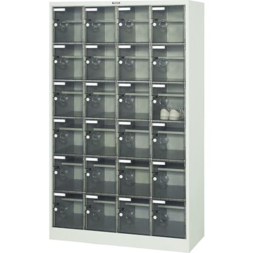 【直送】【代引不可】TRUSCO(トラスコ) シューズケース 24人用 1050X380XH1700 棚付 透明 SC-24WPC