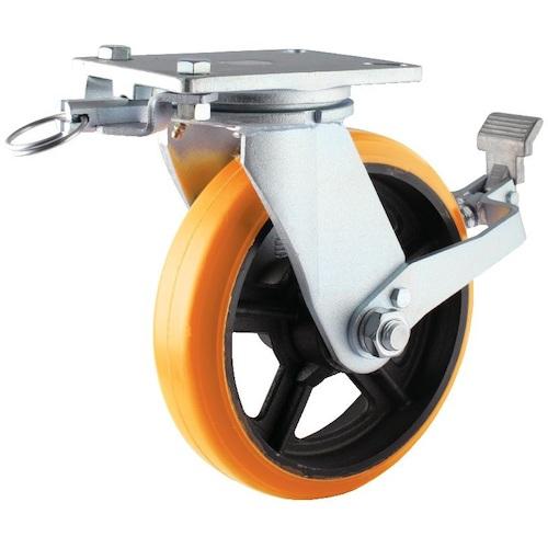 ヨドノ 重量用キャスター 高硬度ウレタン自在車250φストッパー・旋回ロック付 SDUJ250STTL