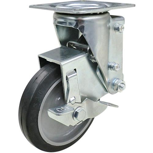 ユーエイキャスター クッションキャスター 125径 自在車 ストッパー付 ゴム車輪 SHSKY-S125NRBDS-30