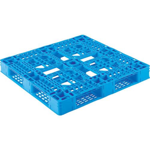 【直送】【代引不可】サンコー(三甲) プラスチックパレット 平置 片面四方差しき 1100X1100 青 SK-D4-1111-8-BL