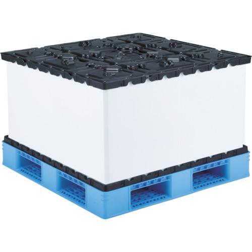 【直送】【代引不可】サンコー(三甲) リターナブルパレットボックス スマートパック 1015X1015X861 SKSM-L1111-1050H-3-BLBK