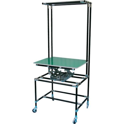 【直送】【代引不可】スペーシア セル作業台 テーブル昇降機付 静電黒色仕様 SPD-T-3B