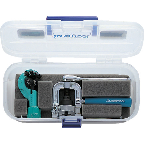 スーパーツール フレキ管ツバ出し工具(ラチェットハンドル式)・カッターセット THS406R