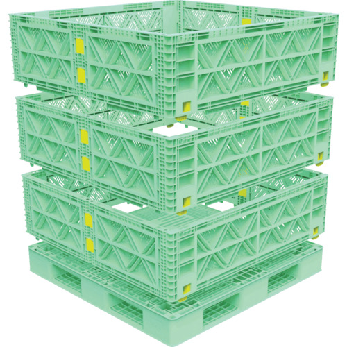 【直送】【代引不可】TRUSCO(トラスコ) マルチステージコンテナ メッシュ 3段 1100X1100 緑 TMSC-M1111-GN