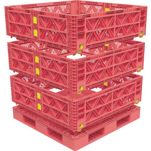 【直送】【代引不可】TRUSCO(トラスコ) マルチステージコンテナ メッシュ 3段 1100X1100 赤 TMSC-M1111-R