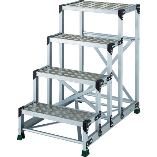 TRUSCO(トラスコ) アルミ合金製作業台 縞鋼板 4段 高さ1.00m 600X400 TSFC-4610
