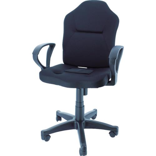 TRUSCO(トラスコ) ダブルクッション 長時間椅子(肘掛付き) ブラック TWCCAR-BK