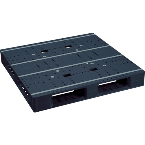 【直送】【代引不可】NPC(日本プラパレット) プラスチックパレット 片面四方差し 1100X1100X150 黒 ZFD-1111E-RR-BK