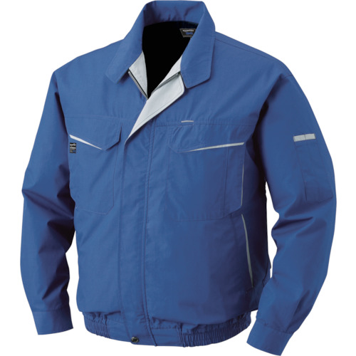 空調服 綿・ポリ混紡ワーク ワンタッチファンブラック 大容量バッテリーセット ブルー L 1着 0470-B22-C04-S3