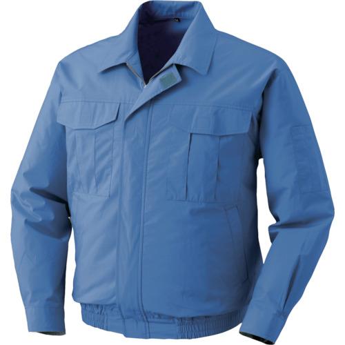 空調服 綿薄手ワーク ワンタッチファングレー 電池ボックスセット ライトブルー4L 1着 0550-G20-C24-S6