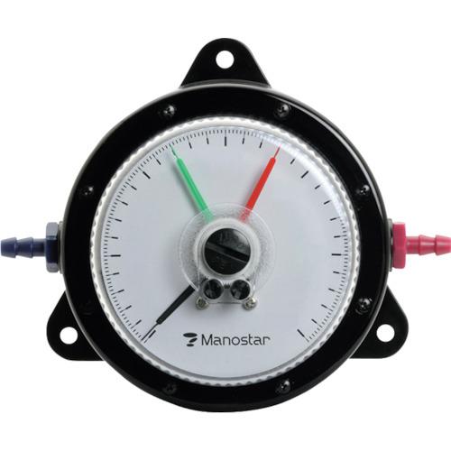 Manostar(マモスター) 微差圧計 マノスターゲージ [表面形・置針2本付] 1台 WO81FT10E