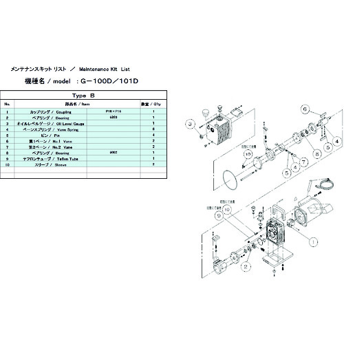 ULVAC(アルバック機工) G-100D/101D用メンテナンスキットB 1φ G-100D MAINTENANCEKIT B