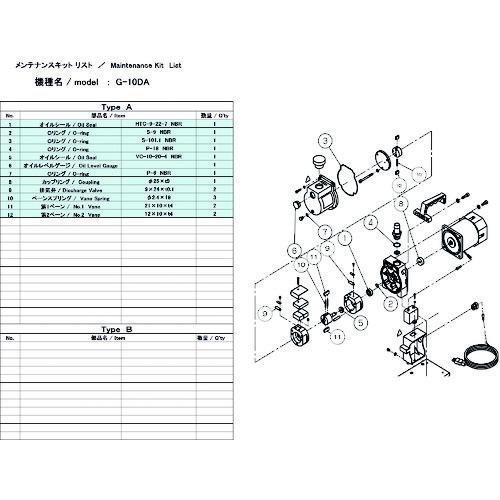 ULVAC(アルバック機工) G-10DA用メンテナンスキット G-10DA MAINTENANCEKIT