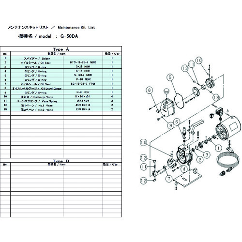 ULVAC(アルバック機工) G-50DA用メンテナンスキット G-50DA MAINTENANCEKIT