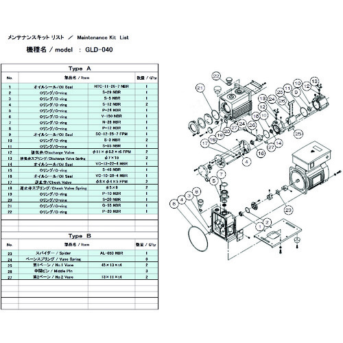 ULVAC(アルバック機工) GLD-040用メンテナンスキットA GLD-040 MAINTENANCEKIT A