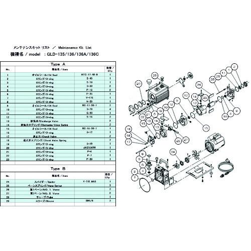 ULVAC(アルバック機工) GLD-135/136/136A/136C用メンテナンスキットA GLD-136A/136C MAINTENANCEKIT A