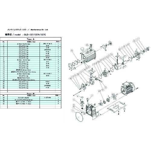 ULVAC(アルバック機工) GLD-137用メンテナンスキットA GLD-137 MAINTENANCEKIT A