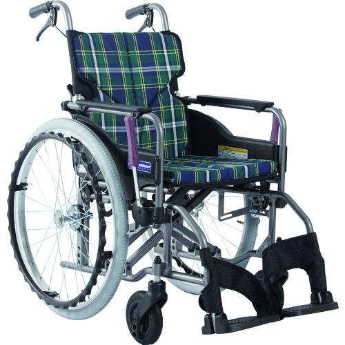 【直送】【代引不可】川村 アルミ製標準型自走用車いすKMD-A22-40-M緑チェエク KMD-A22-40-M-A9