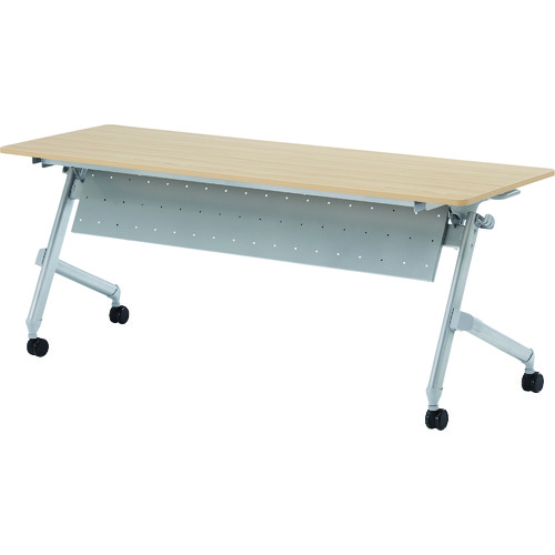 【直送】【代引不可】TRUSCO(トラスコ) 折りたたみ会議テーブル パネル付 1800X600 天板ダークウッド TNA-1860P-DW
