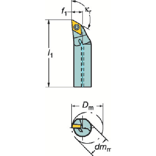 サンドビック コロターン107 ポジチップ用ボーリングバイト A12M-SDXCR07-R