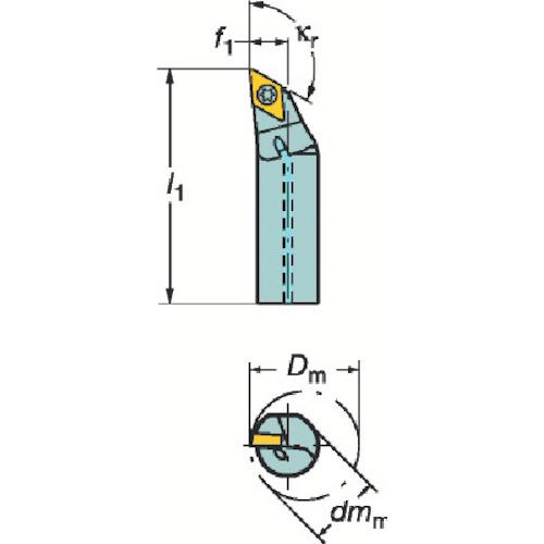 サンドビック コロターン107 ポジチップ用ボーリングバイト A20S-SDXCR11-R
