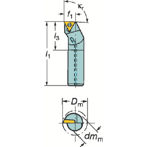 サンドビック コロターン111 ポジチップ用ボーリングバイト A20S-STFPL 16