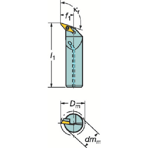 サンドビック コロターン107 ポジチップ用ボーリングバイト A25T-SVQBR16-D