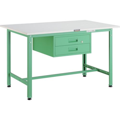 【直送】【代引不可】TRUSCO(トラスコ) AE型軽量作業台 ポリ化粧天板 900X600X740 2段引出付 若緑色 AE-0960F2 YG