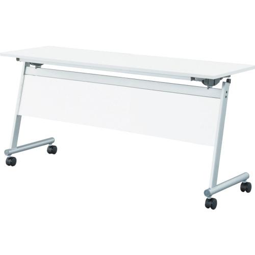 【直送】【代引不可】IRIS(アイリスチトセ) フライングテーブル天板跳上 下棚・幕付1500X450ホワイト CFTR-S1545M-W