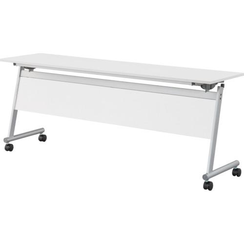【直送】【代引不可】IRIS(アイリスチトセ) フライングテーブル天板跳上 下棚・幕付1800X450ホワイト CFTR-S1845M-W