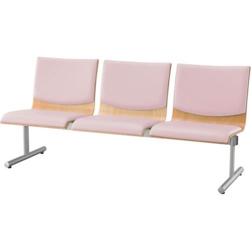【直送】【代引不可】IRIS(アイリスチトセ) ロビーチェア ウッドレスト 3人用 ピンク CWRB-ST3-P