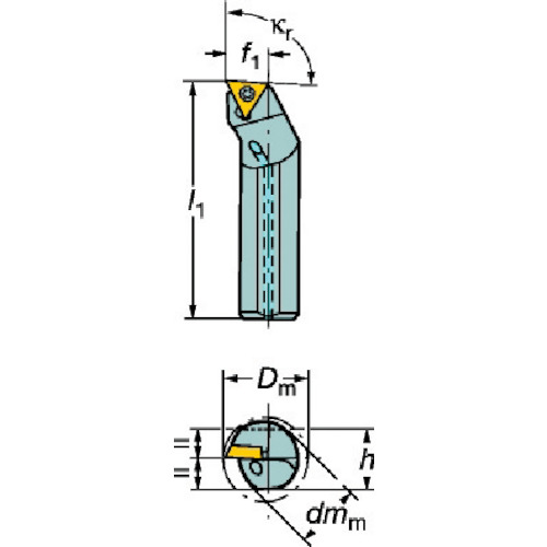 サンドビック コロターン107 ポジチップ用超硬ボーリングバイト E12Q-STFCR 09-R