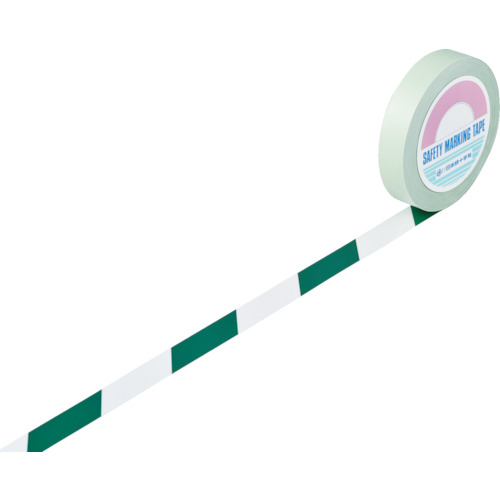 日本緑十字社 ガードテープ(ラインテープ) 白/緑(トラ柄) 25mm幅×100m 148024