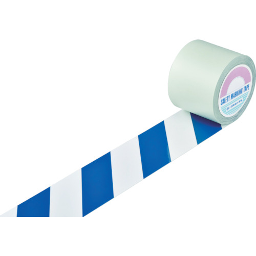 日本緑十字社 ガードテープ(ラインテープ) 白/青(トラ柄) 100mm幅×20m 148165
