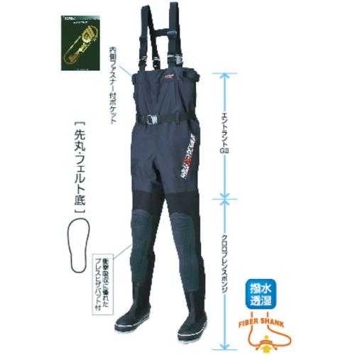 ハンシン(阪神素地) 胴付長靴 透湿スリムウェーダー 先丸 26.0cm FX-543-26.0X
