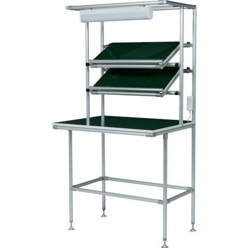 【直送】【代引不可】SUS セル生産作業台 傾斜棚付 棚板・作業ボードあり 照明50Hz GFTR2880003