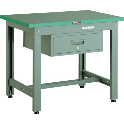 【直送】【代引不可】TRUSCO(トラスコ) 中量800kg作業台 ダップ天板 900X600 1段引出付 グリーン GWP-0960F1