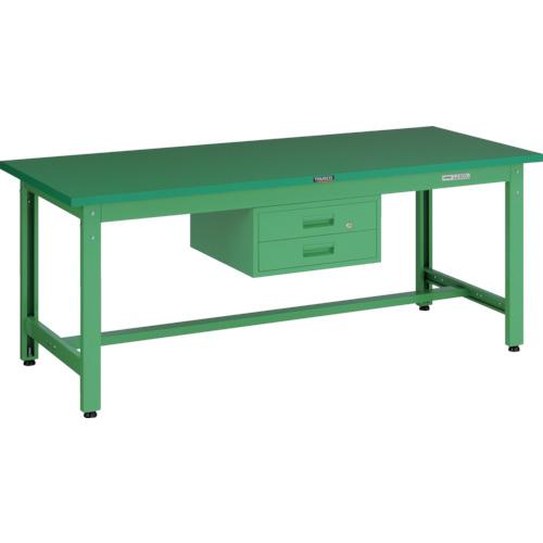 【直送】【代引不可】TRUSCO(トラスコ) 中量800kg作業台 ダップ天板 1800X900 2段引出付 若緑色 GWP-1890F2 YG