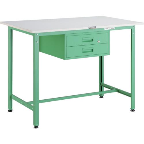 【直送】【代引不可】TRUSCO(トラスコ) AE型軽量立作業台 ポリ化粧天板 900X600X900 2段引出付 若緑色 HAE-0960F2 YG
