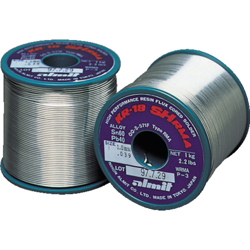 日本アルミット 鉛入やに入はんだ KR19SHRMA-SN60-P-3-0.8MM