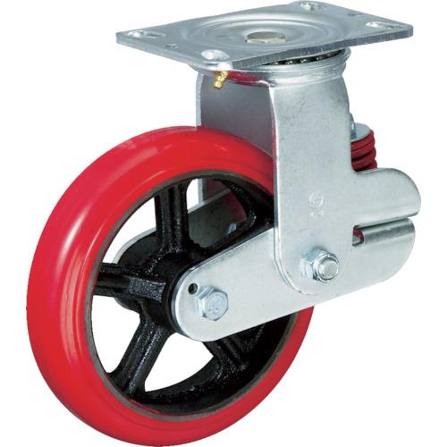 イノアック車輌 バネ付牽引車輪 ウレタン 自在金具付 φ200 KTU-200WJ-GS