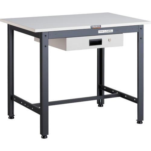 【直送】【代引不可】TRUSCO(トラスコ) LEW型軽量作業台 ポリ化粧天板 900X600X740 薄型引出1段 LEWP-0960UDK1