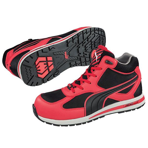 プーマセフティ(PUMA) 安全作業靴 フルツイスト レッド・ミッド 25.0cm 63.201.0-25.0