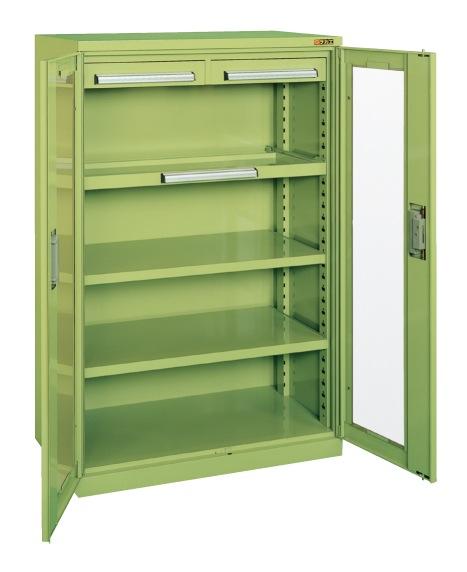 【直送】【代引不可】サカエ(SAKAE) ミニ工具室 アクリル扉 880X516X1350 グリーン K-1001A