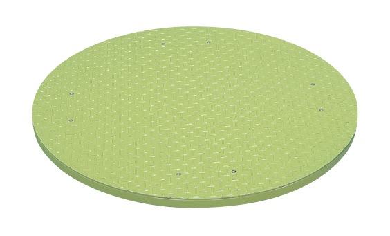 【直送】【代引不可】サカエ(SAKAE) クルクル回転盤 φ590X32 縞鋼板天板グリーン KUS-600ST